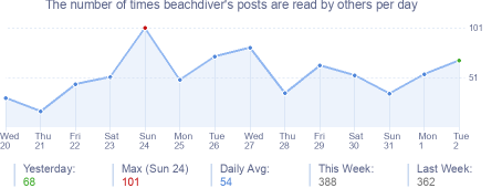 How many times beachdiver's posts are read daily